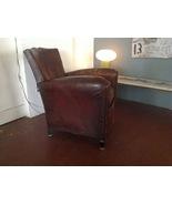 Authentic Antique Mustache Cognac Leather Club Chairs, Paris France c.1930  - $1,800.00