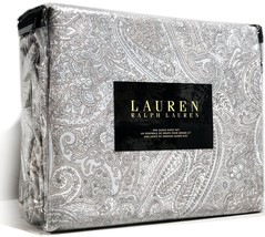 Ralph Lauren 4-piece Sheet Set Queen Cotton Sateen Tan Blue Paisley Deep... - $74.95