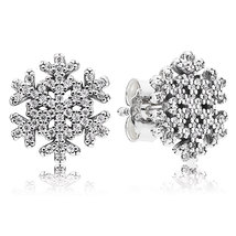 925 Sterling Silver Snowflake & Pave Clear CZ Stud Earrings QJCB810 - $21.99