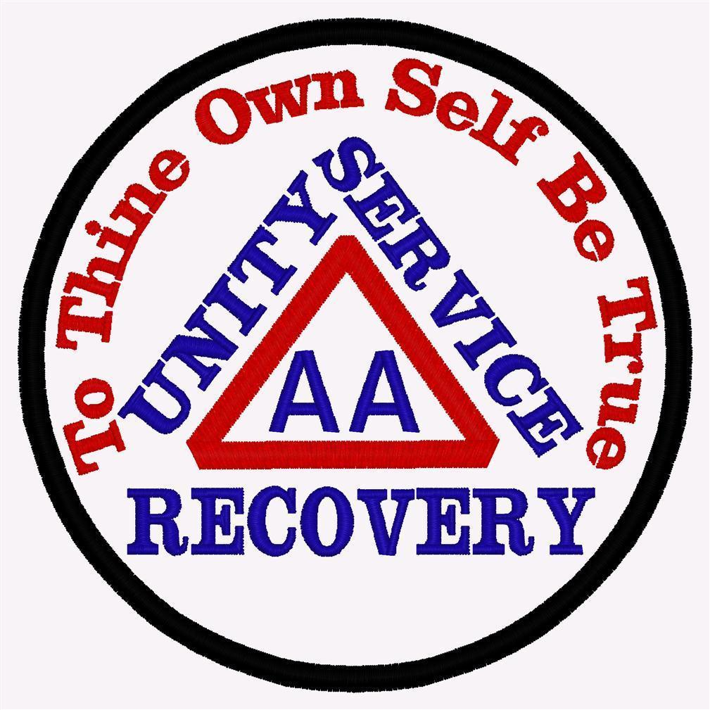 AA BIKER PATCH UNITY SERVICE RECOVERY TO THINE OWN SELF BE TRUE - TRIANGLE A.A.