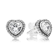 925 Sterling Silver Sparkling Love with Clear CZ Stud Earrings QJCB637 - $21.99