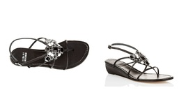 "Stuart Weitzman ""Dally"" Leather Wedge Thong Sandal 7.0 NWB $420 - $149.00"