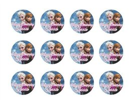 """Disney Frozen Anna & Elsa 2"""" Round Edible Cupcake Images Toppers. - $9.99"""