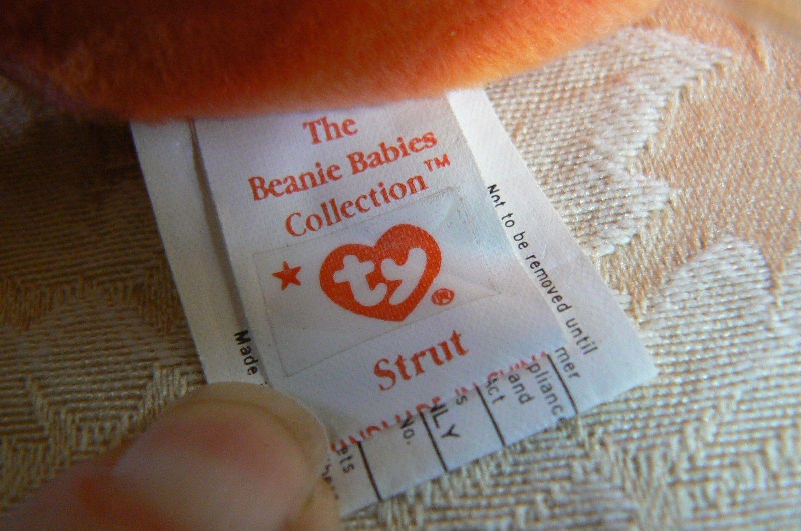 "Rare TY Original Beanie Babies "" Strut "" The Rooster Errors- #4171-Retired-Error image 7"
