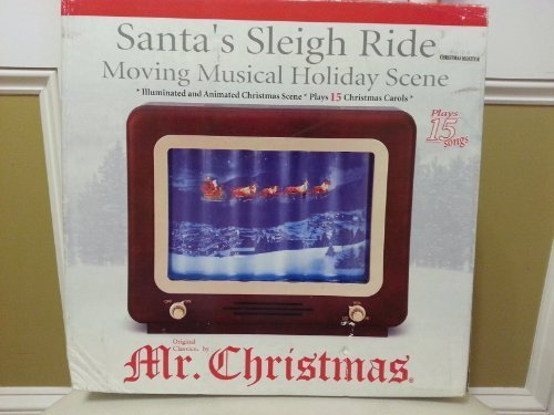 Mr. Christmas Santa's Sleigh Ride Moving Musical Holiday Scene - Illuminated and