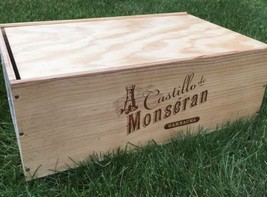 Imported Wood Wine Crate Box w/Lid Spain Castillo de Monseran Shipping - $35.53