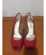 Beautiful Classy Jessica Simpson Red Patent Leather Slingback Peep-toe S... - $25.73