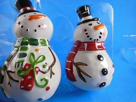 "Snowmen Christmas Winter Salt & Pepper Shakers CIB Michael's 4"" New in P... - $10.39"