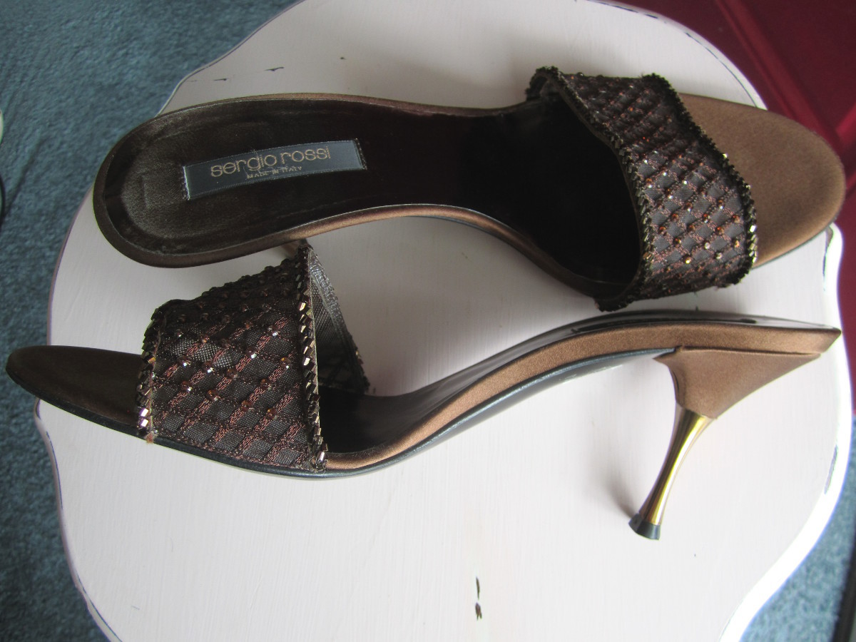 e523344769ee Sergio Rossi Beaded Bronze Satin Slide and 11 similar items. Serg1