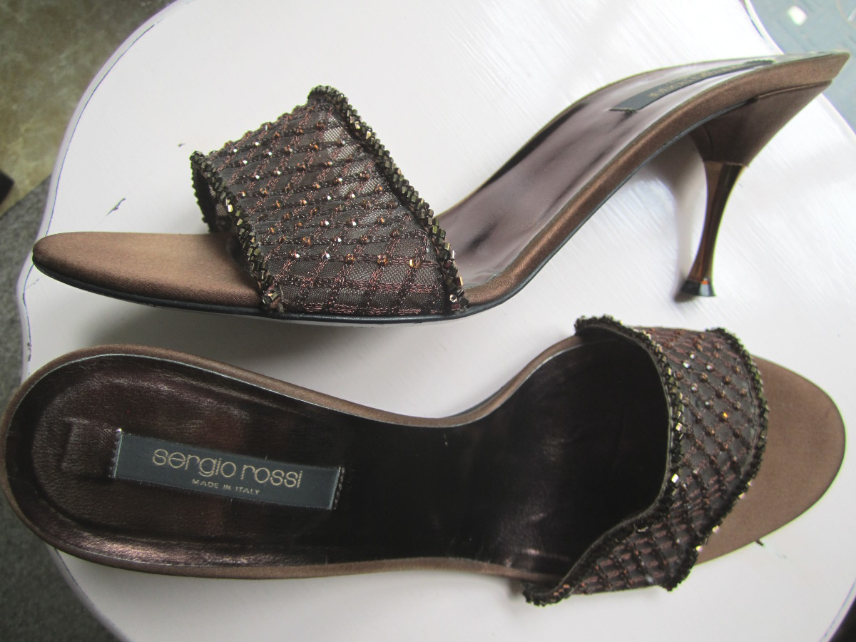 sale sergio rossi beaded bronze satin slide sandals sz 8 5 to 9 3 heels heels. Black Bedroom Furniture Sets. Home Design Ideas