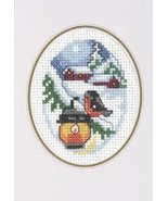 Light with Bird Christmas Card kit counted cross stitch Permin of Copenh... - $9.90
