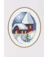 Church Christmas Card kit counted cross stitch Permin of Copenhagen - $9.90