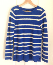 Talbots Women Sweater M Blue White Stripe Zig Zag Knit Long Sleeve Cotton New - $44.95