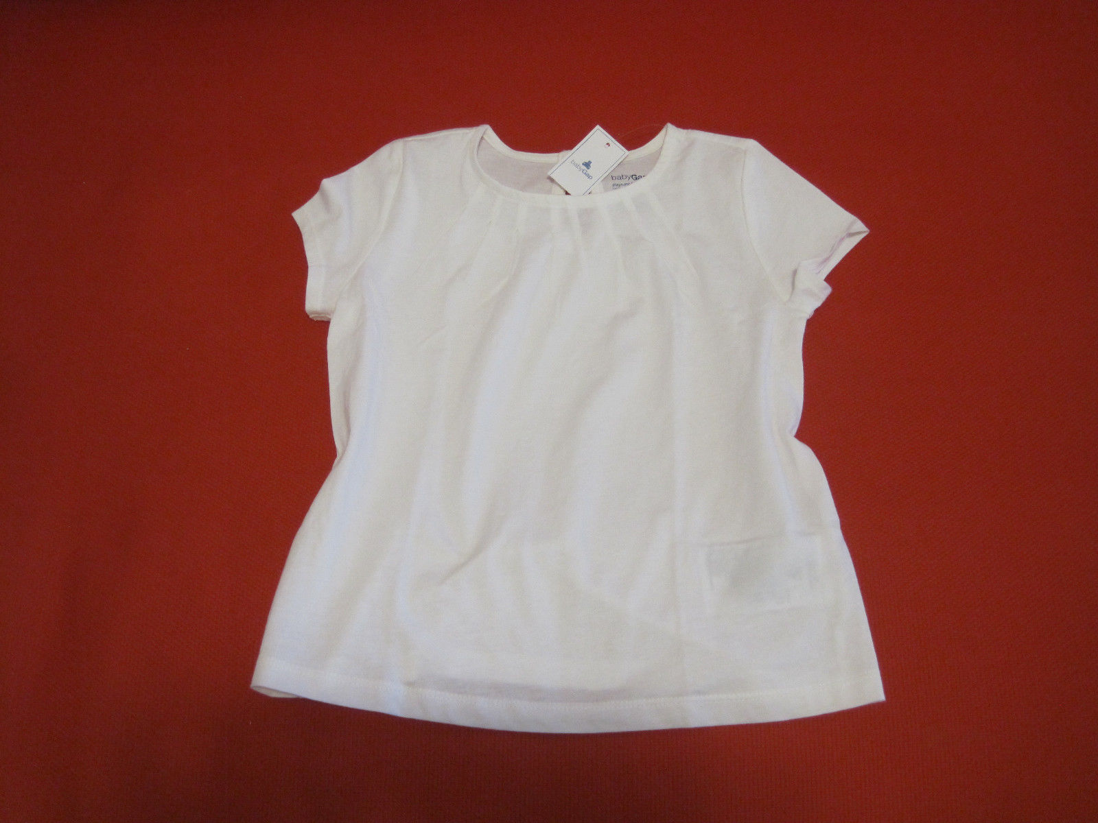 Gap Baby Girls Tee Top  Sz 4 Off White Pleated Short Sleeve 100% Cotton New