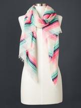Gap Women Scarf Multi-color Striped Fringe Raw Hem Light Weight Off Whit... - $24.99