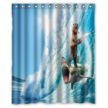Shark & Bear Animal #01 Shower Curtain Waterproof Made From Polyester - $31.26+