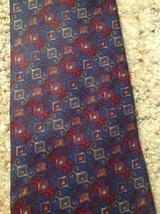 Mens Necktie 100% Silk Geoffrey Beene Blue Red Italy image 2