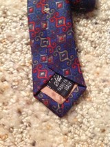 Mens Necktie 100% Silk Geoffrey Beene Blue Red Italy image 3