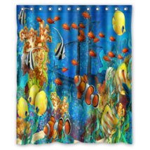 Shipwreck Sea Fish Coral Underwater Shower Curtain Waterproof Made From ... - $31.26+