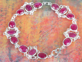 Amazing 925 Ruby Gemstone Sterling Silver Brace... - $19.99