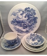 6 Piece Place Setting Enoch Wedgwood Countryside Blue - $19.55
