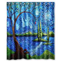 Sky Tree Abstrac Lake Apple Island Shower Curtain Waterproof Made From P... - $31.26+