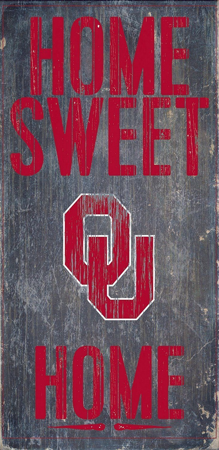 "OKLAHOMA SOONERS HOME SWEET HOME WOOD SIGN with ROPE 12"" X 6""  NCAA MAN CAVE!"