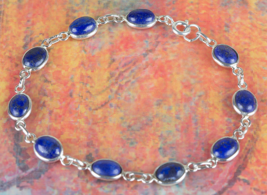 Lovely 925 Lapis Lazuli Gemstone Sterling Silver Bracelet Jewelry BJB-11... - $16.99