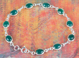 Lovely 925 Green Onyx Gemstone Sterling Silver Bracelet Jewelry BJB-119-GO - $15.99