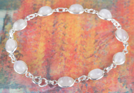 Lovely Rainbow Moonstone Gemstone Sterling Silver Bracelet Jewelry BJB-1... - $17.99