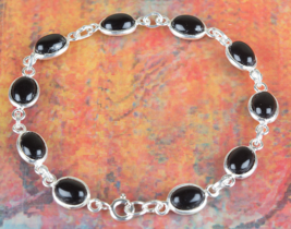 Lovely 925 Black Onyx Gemstone Sterling Silver Bracelet Jewelry BJB-119-BO - $16.99