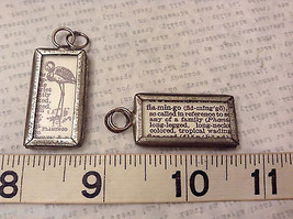 2 Sided Charm Tag Versatile Metal Glass - picture of Flamingo w/ Definition image 7