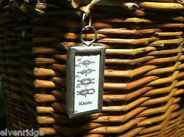 2 Sided Charm Tag Versatile Metal Glass- picture of Nautical Knots w/ Definition image 2