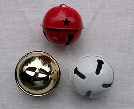 "JUMBO JINGLE BELL ~ 2.5"" 2-1/2"" ~ Shiny White or Red or Gold ~ For Wreath  Tree - $4.94"