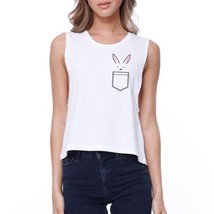 Rabbit Pocket Crop Tee Sleeveless Shirt Junior Tank Top For Easter - $14.99
