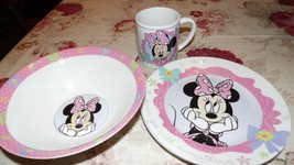 """DISNEY MINNIE """"BOWS GO WITH EVERYTHING"""" PORCELAIN BOWL PLATE CUP SET OF 3 - $19.79"""