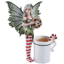 Amy Brown Christmas Elf Faery Cookie Statue Hot Candy Cane Tea Cup Fairy... - $31.99