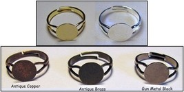 100 Adjustable RING BLANKS 10mm pad ~ 20 x 5 Di... - $22.64