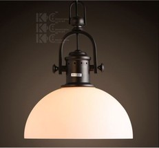 20th C. Factory Filament Milk Glass Dome Pendant Aged Steel RH Lighting ... - $113.99
