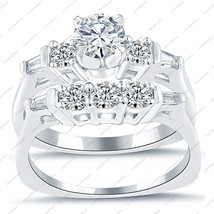White Gold Plated 925 Sterling Silver Three Stone Engagement Wedding Bridal Set - $90.99