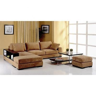 BH Telus Brown Sectional Left Hand Chaise Fabric Upholstery Modern Style