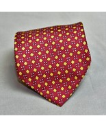 Adolfo Mens Necktie Red Sunflower Orange Geometric 100% Silk - $8.04