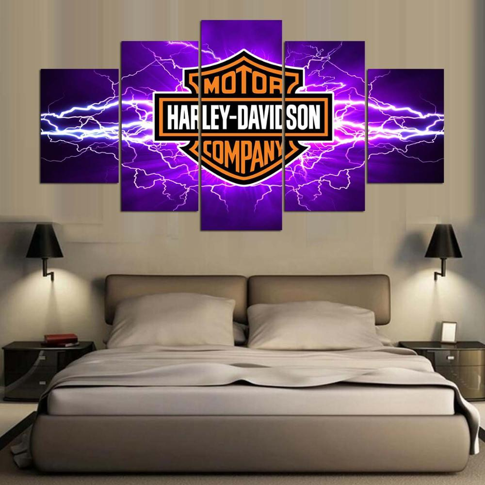 Large Framed Harley Davidson Purple Lightning Canvas Print Wall Art Home 5 Piece, used for sale  USA