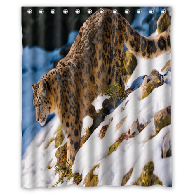 Snow Leopard Walking Down #01 Shower Curtain Waterproof Made From Polyester - $31.26 - $48.30
