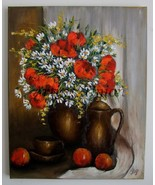 Still Life Red Poppies Original Impasto Oil Painting Daisy Bouquet Teapo... - $350.00