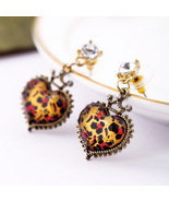 Vintage Style Leopard Crystal Heart Gold Plated Dangle Earrings - $14.00