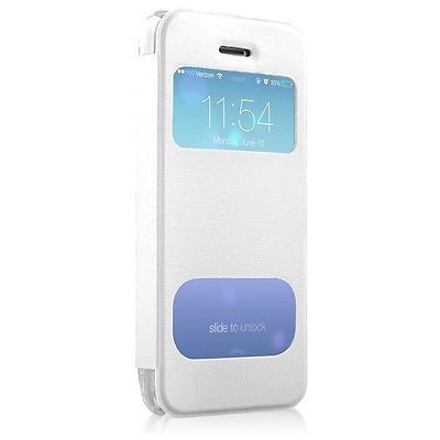 HyperGear ID Flip Case Cover with Clear Back for Apple iPhone SE/5c, White