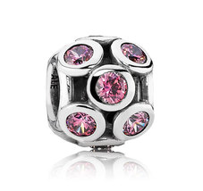 925 Sterling Silver Whimsical Lights with Pink CZ Openwork Charm Bead QJ... - $19.99
