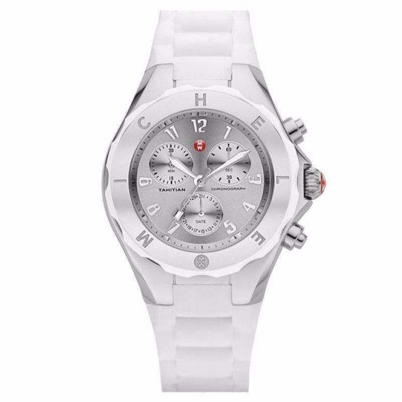 3d486d38ab82a S l1600. S l1600. NEW WOMENS MICHELE (MWW12F000032) TAHITIAN JELLY BEAN  CHRONOGRAPH SILVER WATCH