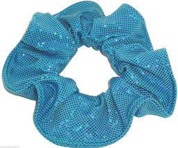 Turquiose Sequin on Ocean Blue Spandex Hair Scrunchie Scrunchies by Sherry - $8.99